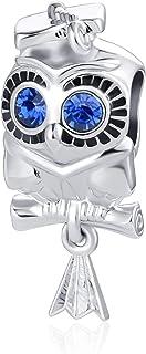 QeenseKc Owl Graduation Graduate Cap Scroll Diploma Charm Beads for Pandora Charms Bracelet Necklace