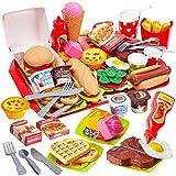 Buyger 63 Pezzi Cucina Cibo Hamburger Pizza Finto Giocattolo Alimenti Gioco Gelati Giochi di Ruolo per Bambini 3 4 5 Anni