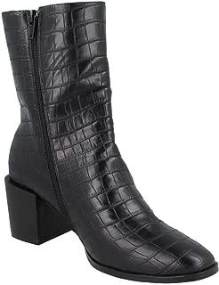 Spot On Womens/Ladies Chunky Crocodile Blocked Heel Ankle Boots