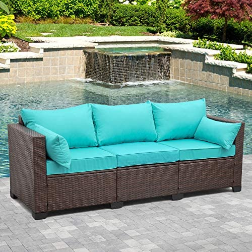 3-Seat Patio PE Wicker Couch Furniture Outdoor...