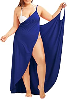 48dd96652f3 Chuanqi Plus Size Womens Spaghetti Strap Cover Up Beach Backless Wrap Long  Dress