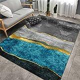 Alfombra Habitacion Bebe Cojin Suelo Infantil Diseño gráfico Abstracto Gris Azul Dorado Alfombras Salon Baratas 80X200cm