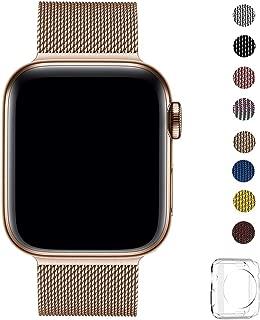 WFEAGL コンパチブル apple watch バンド, コンパチブルiWatch通用ベルト apple watch series 4/3/2/1に対応 交換ベルトステンレス製 (42mm 44mm, ローズゴールド)