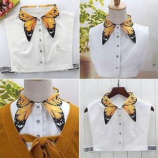 WOOAI Dames Pure Color vlinder print revers choker halsketting shirt nep valse kraag