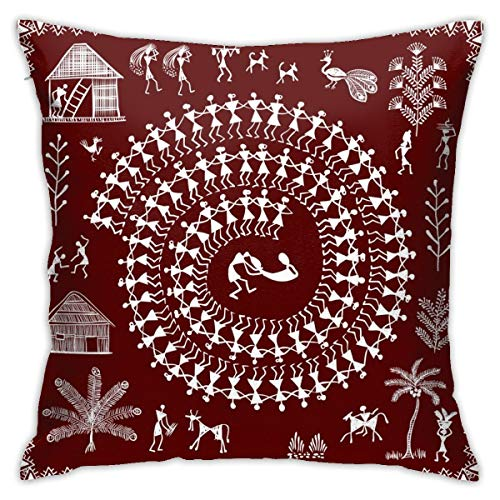 iksrgfvb Pillowcases Cushion Covers decoration Bark Warli Painting - Hand Drawn Traditional The Ancient Tribal Art India on the Sofa car bed 45X45 CM