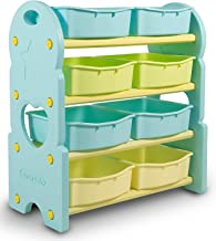Home Canvas Children Deluxe Multi-Bin Toy Organizer with Storage Bins, Toy Boxes and Storage, Blue, Toy Box Storage for Boys