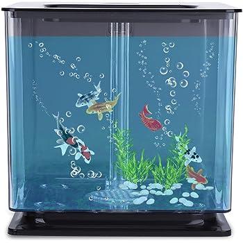 Acouto [ミニ水族館] ミニ プラスチック 魚タンク ミニ魚タンク 創造的な環境 水族館と自動フィルタシステム 時間と労力を節約 スタイリッシュなデザイン(ブラック)