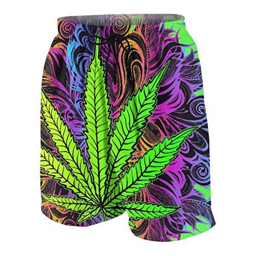 SUHOM De Los Hombres Casual Pantalones Cortos,Hoja De Cannabis, Marihuana, Hierba, Maleza, Ganja,Secado Rápido Traje de Baño Playa Ropa de Deporte con Forro de Malla