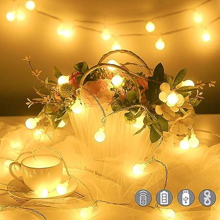 Guirlande Lumineuse,10M 100 LED Boules Guirlande Pile USB 2 en 1 Étanche Globe Girlande de Lumière avec 20 Crochets et Télécommande Intérieur Extérieure 8 Modes pour Fête Noël Mariage