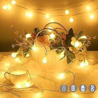 Guirlande Lumineuse,10M 100 LED Boules Guirlande Pile USB 2 en 1 Étanche Globe Girlande de Lumière avec 20 Crochets et Tél...