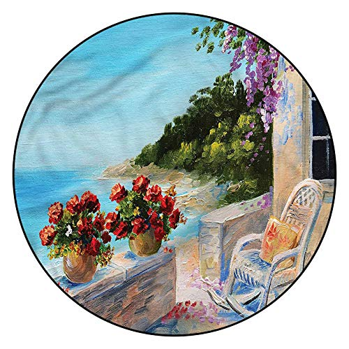 3D Seascape Pattern Area Rugs Carpets,6' Round,Balcony Sea Rocking Chair Floor Carpet with Non Slip Backing for Bedroom Livingroom Dorm Kids Room Indoor Home Decorative