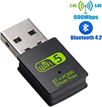 USB WiFi Bluetooth Adapter, 600Mbps Dual Band 2.4/5Ghz Wireless External Receiver, Mini WiFi Dongle for PC/Laptop/Desktop