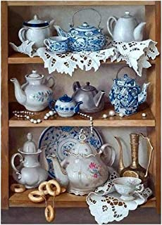 Dartphew DIY 5D Diamond Painting,【Retro Tea Set】, for Adults Full Drill Colorful Embroidery Pictures Arts Craft Cross Kits Wall Stickers for Home Living Room Decoration (11.81''x15.74'')