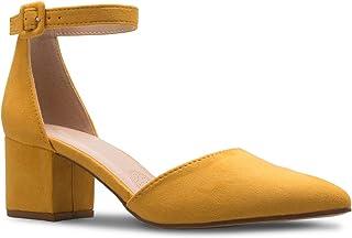Olivia K Women's Classic Pumps Close Toe Ankle Strap Kitten Heel - Adorable Low Block Heel
