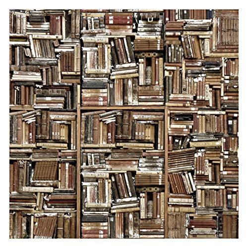 Tapete selbstklebend - Shabby Bücherwand - Fototapete Quadrat 288x288 cm