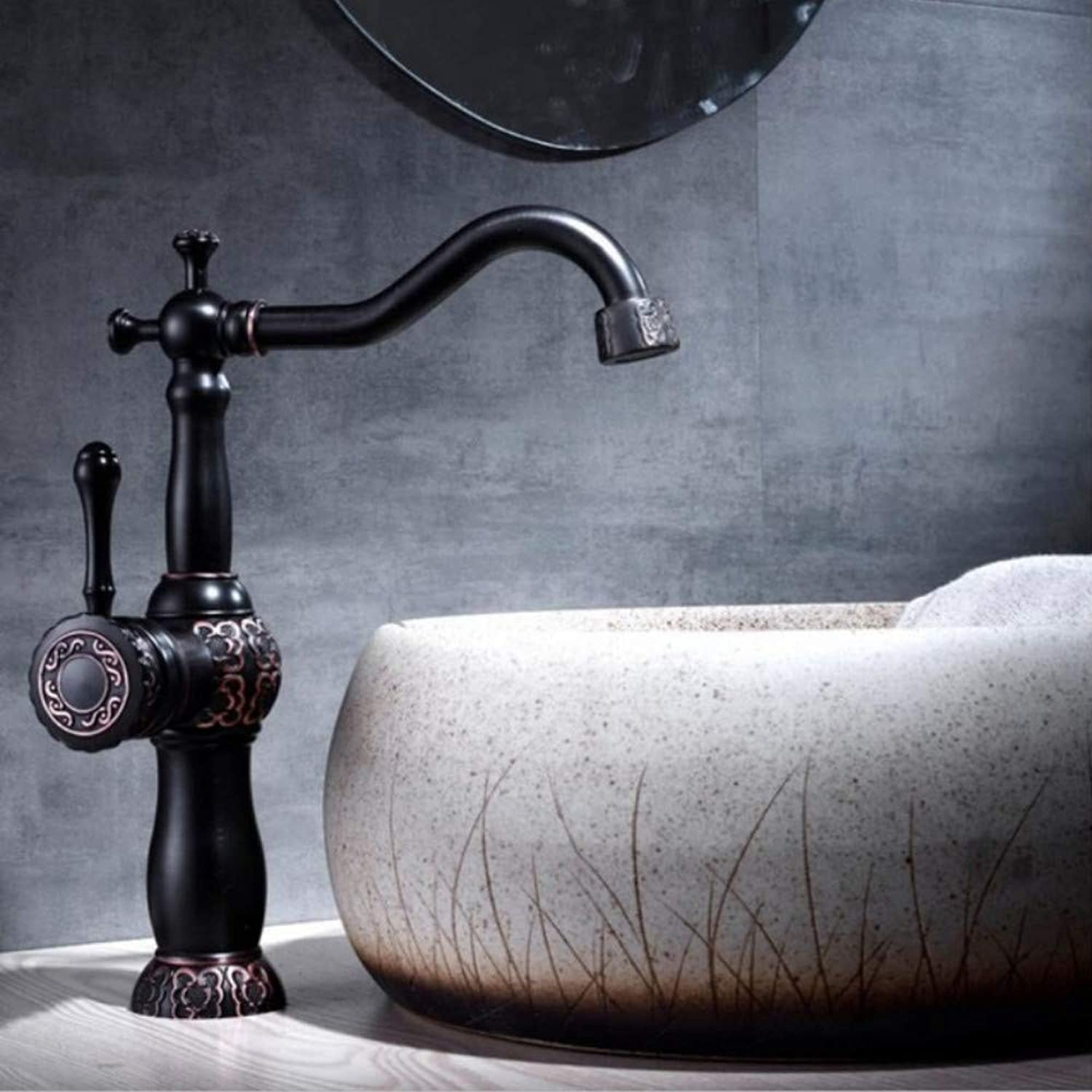 Lddpl Basin Faucets Black Oil Brushed Bathroom Faucet Basin Carved Tap redate Single Handle Hot and Cold Water Mixer Taps Crane