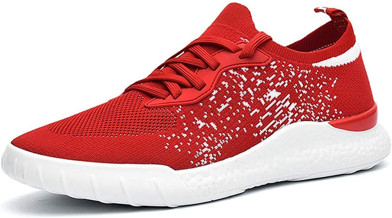 ZHRUI Men Sneakers Comfortable Breathable Lace up Mesh Casual shoes (color   Red B, Size   9UK=44 EU)