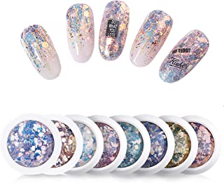 Micup Holographic Nail Art Sticker Kit Iridescent Nail Sequins Mermaid Colorful Flakes Glitter Make Up for Nail Face Body ...