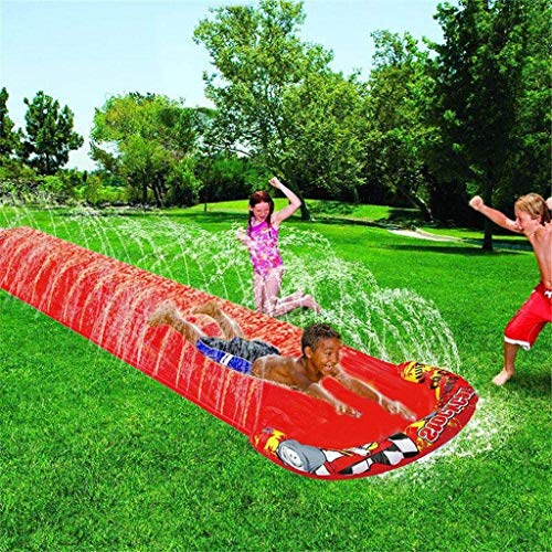 Water Slide,5M Splash Sprint Racing Water Slide for Kids Extra Thick Tear Proof Waterslide Lawn Backyard Garden Summer Water Party Outdoor Watersports Super Waterslide