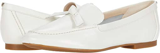 White Soft Grainy Leather/Knot Bow/Tonal Stitch
