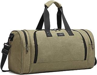 Kono Canvas Reisetasche Sporttasche Weekender Tasche Freizeittasche Handgepäck für Damen und Herren mit der Großen Kapazität 30L Grün
