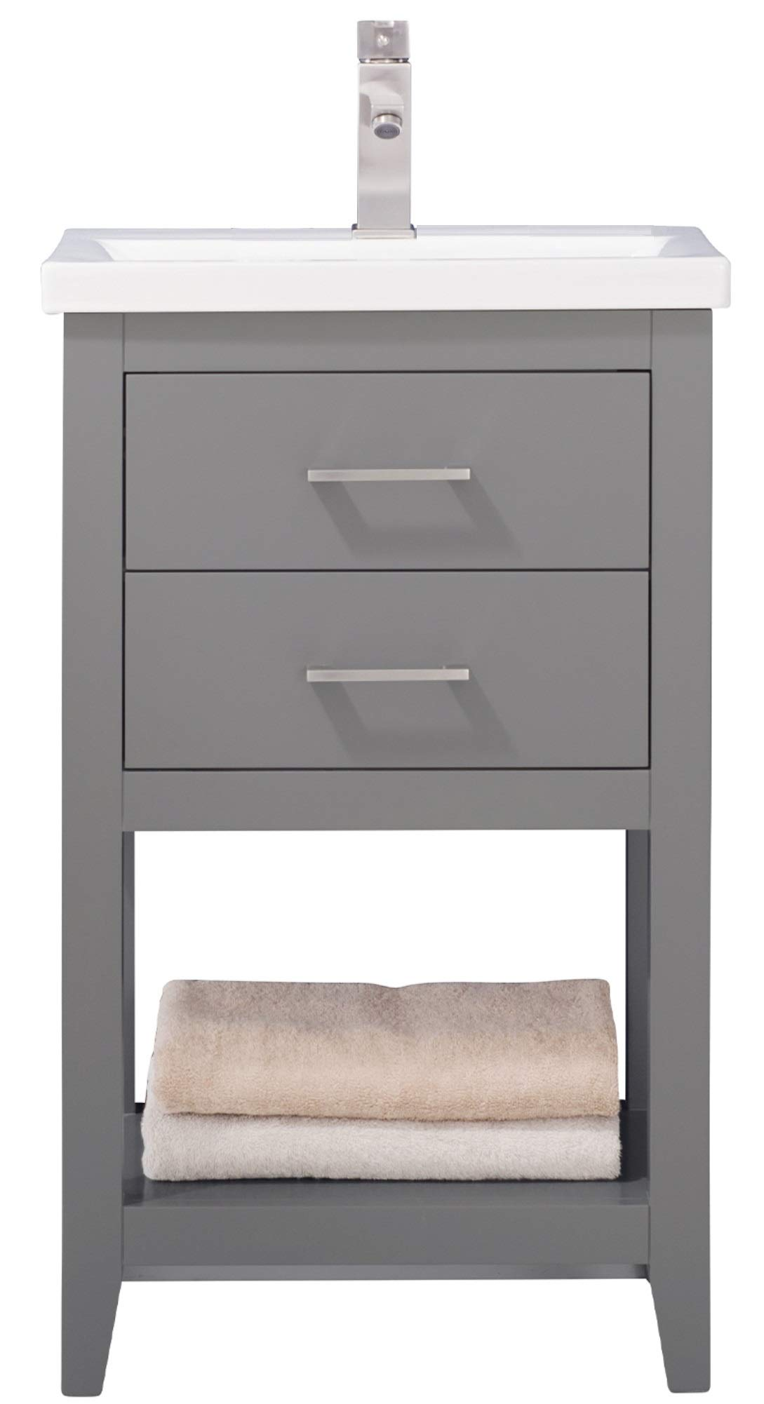 Luca Kitchen Bath Lc20fgp Dublin 20 Bathroom Vanity Set In French Gray With Integrated Porcelain Top Amazon Com