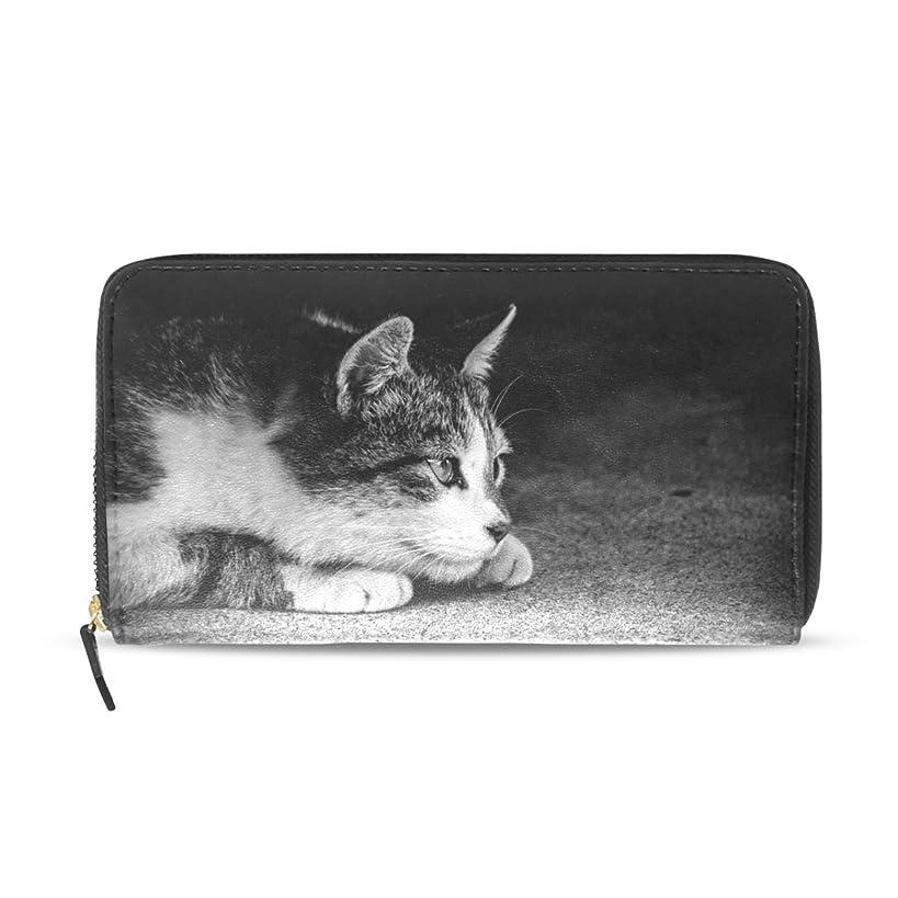 息苦しい閉じる公AOMOKI 財布 レディース 長財布 猫柄 白黒 にゃんこ ねこ モノクロ ラウンドファスナー PUレザー 大容量 二つ折り 幅20*丈11cm