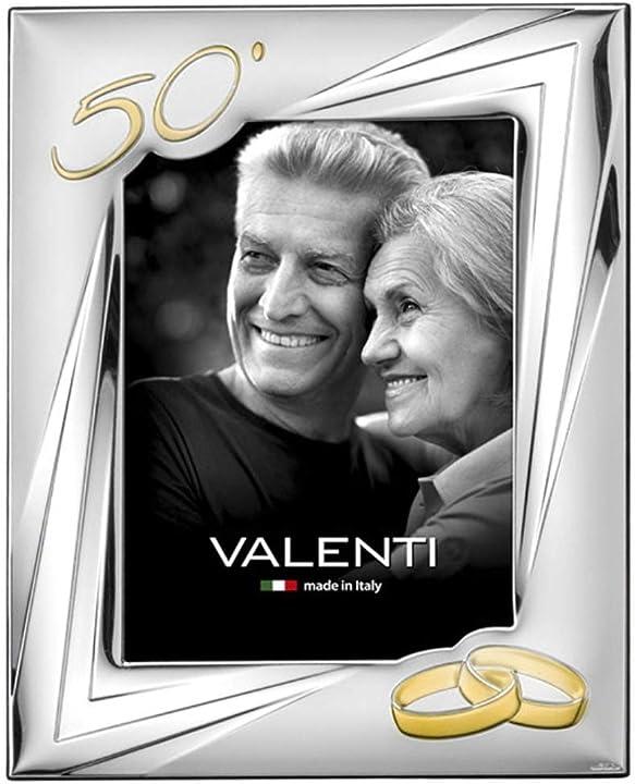 cornice portafoto in argento cm 18x24. ideale come regalo per nozze d`oro - 50 anni - valenti&co 52033-5l