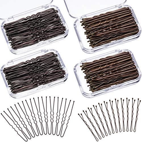 200 Stuks Haarspelden Bobby Pins U Gevormde Haar Clips Verschillende Maten Metaal Haar Pin Clips met Duidelijke Opslag Dozen (Bruin)