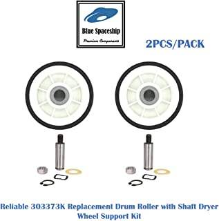2PCS/PACK Reliable 303373K Drum Roller with Shaft Dryer Wheel Support Kit. Replacement Part Fits for Whirlpool & Maytag Dryer and Replaces 12001541, 312948