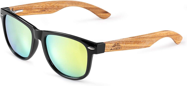 GreenTreen Gafas Sol Madera, Gafas de Sol Polarizadas Hombre y Mujere, UV400, Gafas Ligeras con Patillas de Madera