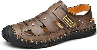 GBZLFH M. Sandales en Cuir, Chaussures de Plage d'été Baotou, Chaussures de Sport fermées aux Orteils pour Les pêcheurs.