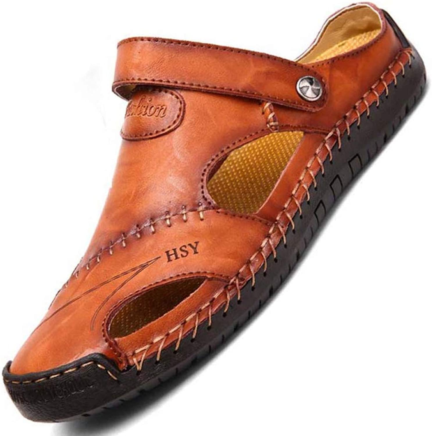 STTXTM Beach Slippers New Genuine Leather Men Sandals shoes Summer Leisure Beach Men's Sandals Sandals Slippers Bohemia Big Size 38-48 Red-Brown