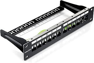 deleyCON 12 Puertos Patch Panel Modular para Módulos Keystone 1U (1HE) 10 Pulgadas el Montaje en Rack Compatible CAT5 CAT6 CAT7 LAN Red Negro