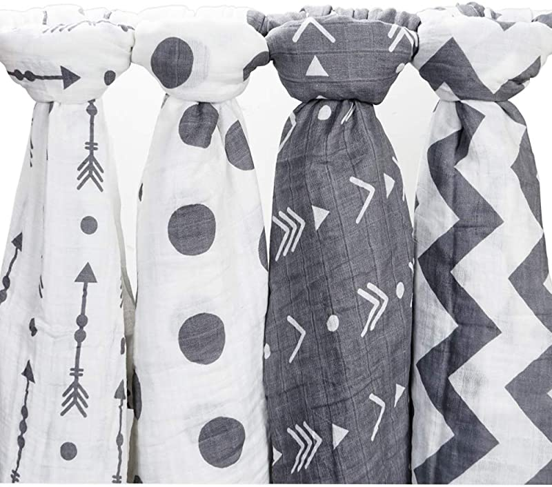 CozyWay Baby Muslin Swaddle Blankets Baby Cotton Muslin Swaddling Blanket For Boys Girls Unisex 47x47 Bamboo Neutral Swaddle Wrap Receiving Blanket 4 Pack Arrow Polka Dot
