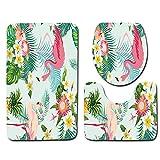 DREAMING-Tapis De Bain Animal Flamingo + Tapis Contour + Couvre-Toilettes Ensemble Tapis De Salle De Bains Antidérapant Doux 3 Pièces 45cm * 75cm