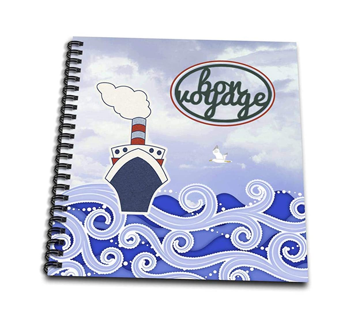 3dRose db_196056_1 Bon Voyage, Cruise Ship on Big Blue Waves Drawing Book, 8 x 8