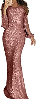 Cobama Womens Tassel Sequin Evening Gown Retro Clubwear Long Maxi Dress