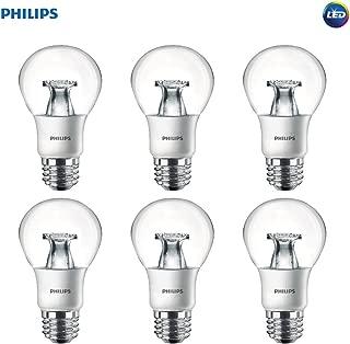 Philips LED Non-Dimmable A19 Clear Light Bulb: 800-Lumen, 2700-Kelvin, 8.5-Watt (60-Watt Equivalent), E26 Base, Soft White, 6-Pack