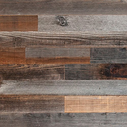 "Plank and Mill - Reclaimed Barn Wood Wall Panels - Simple Peel and Stick Planks for Accent Walls, Kitchens, and Other Projects - 10 Square Feet of 3"" Wide: Classic Barn Wood"