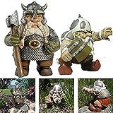 Wikinger Victor Norse Zwerg Gnom Statue, Wikinger Garten Gnom Farbdekoration Für Hausgarten Hof Rasen Harz Figur Outdoor Skulptur (Stand+Squatting)