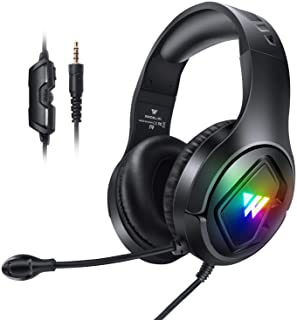 Gaming Headset with Mic for PS4 PS5 Xbox one PC, RGB Stereo Gamer Headphones with Noise Cancelling Microphone, in Line Con...