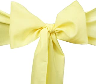 THE WD New Satin Chair Sashes Bow for Wedding Party Events Banquet Reception Decorations - (10, Yellow)