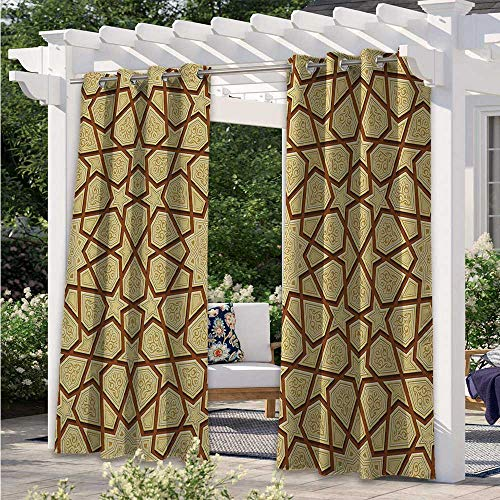Outdoor Curtain Drapes Arabesque Star Shapes on Retro Design with Fractures Classic Eastern Building Waterproof Sun Light Blocking Curtain Beautify Your Outdoor Area Cream Brown W108 x L84 Inch