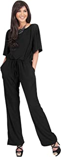 Womens Short Sleeve Long Pants Suit Jumpsuit Playsuit One Piece Romper