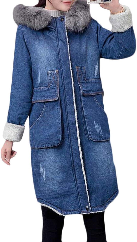 BYWX Women Cotton Lined Thicken Faux Fur Hood Denim Jean Coat Overcoat