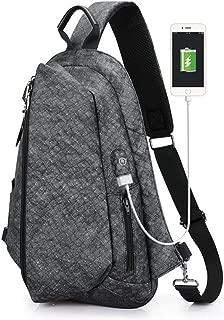 Men's Casual Chest Bag, Large Capacity Black Outdoor Shoulder Bag, USB Charging Socket Messenger Bag,Gray