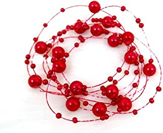 LUKEEXIN 12pcs Bridal Headwear Gypsophila Pearl Chain Bridal Pearl Line Headdress Wedding Accessories Bridal Hair Accessories (Color : Red)