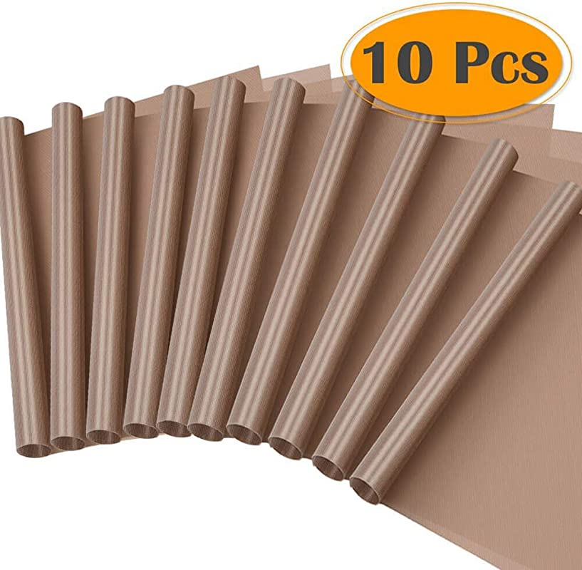 AOZBZ Heat Resistant BBQ Grill Mat 15 7 X 23 6 Non Stick Copper Bakeware Mat Reusable Easy To Clean Set Of 10