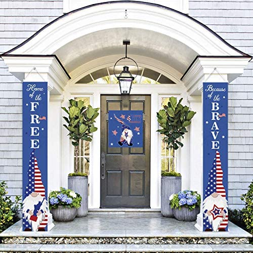 American Flag Patriotic Soldier Porch Sign Banners Patriotic Decoration for Memorial Day 4th product image